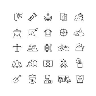 Set di icone vettoriali estate campeggio linea
