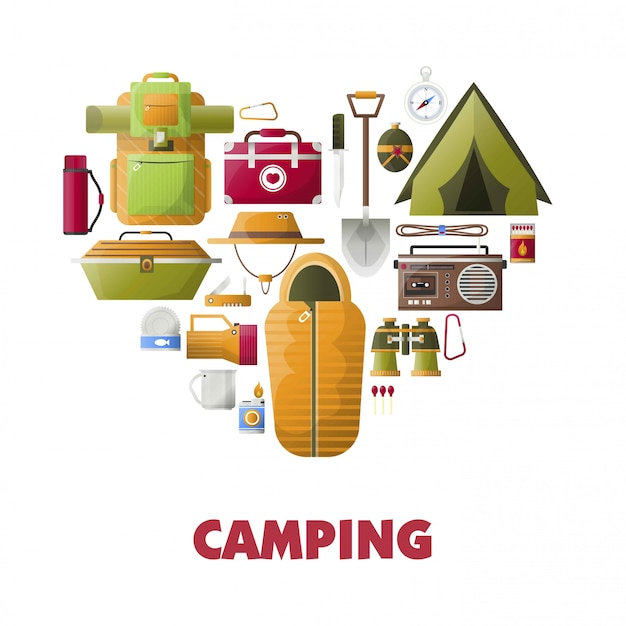 Campeggio estivo vettore poster di icone di strumenti di camp