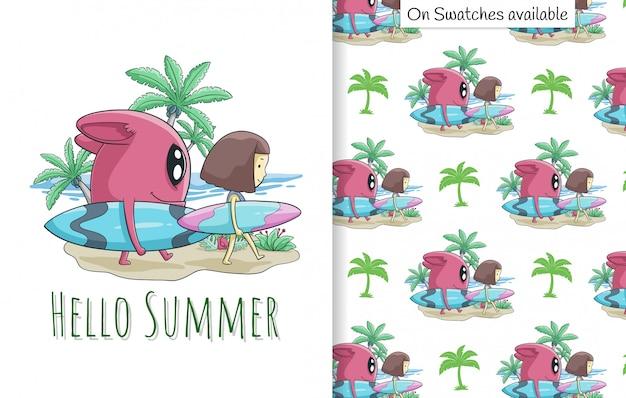 Summer card e seamless pattern con una mano disegnata di ragazza carina e la sua amica sulla spiaggia Vettore Premium