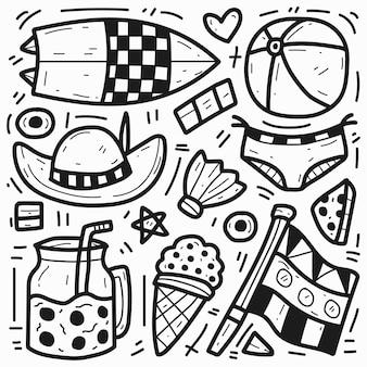 Disegnato a mano di doodle sveglio del fumetto di estate