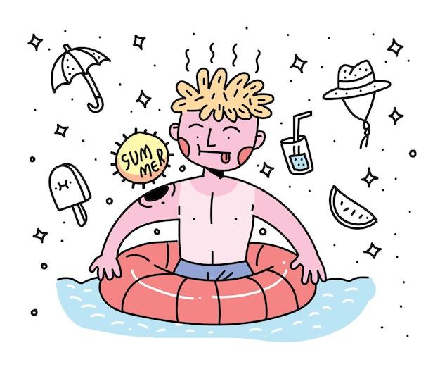 Stile di doodle di design del personaggio estivo. design del personaggio estivo
