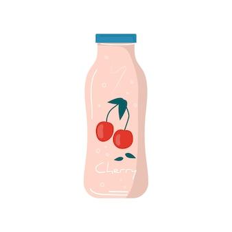 Succo di ciliegia estivo nell'icona della bottiglia con frutta e bacche. frutta vegana e cocktail detox salutari. miscele vegetariane, bibite e frullati vitaminici rinfrescanti per succhi di frutta. vettore alla moda