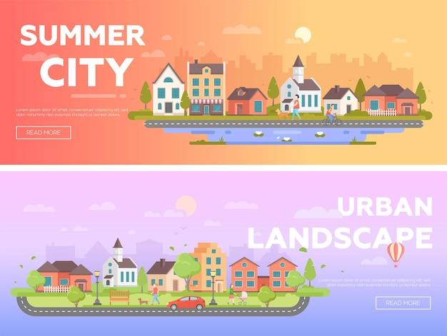 Città estiva, paesaggio urbano - set di illustrazioni vettoriali piatte moderne con posto per il testo. due varianti di paesaggi urbani con graziosi edifici, persone, chiesa, panchine, lanterne, alberi, mongolfiera