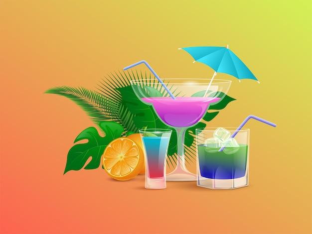 Cocktail estivi decorati con semi di arancia e foglie tropicali