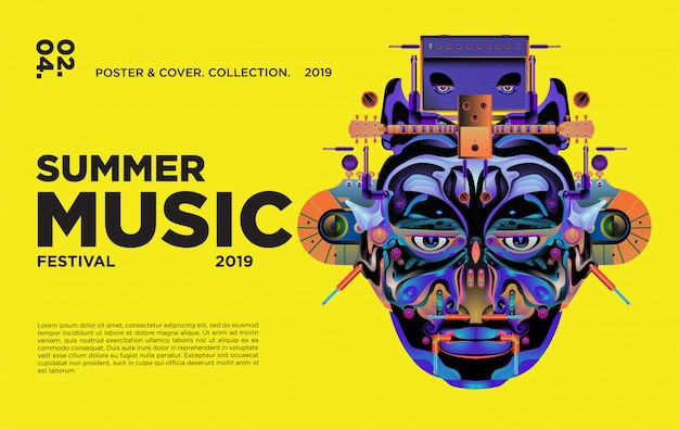 Copertina e poster del festival estivo colorato di arte e musica