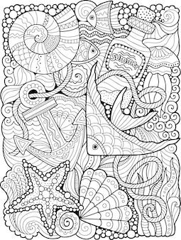 Libro da colorare estivo per adulti. fantasia di vita sottomarina