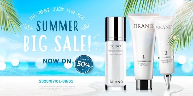 Annunci cosmetici estivi con prodotti su sfondo spiaggia bokeh in illustrazione 3d