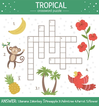Cruciverba estivo per bambini. quiz con elementi tropicali per bambini. attività educativa nella giungla con simpatici personaggi divertenti