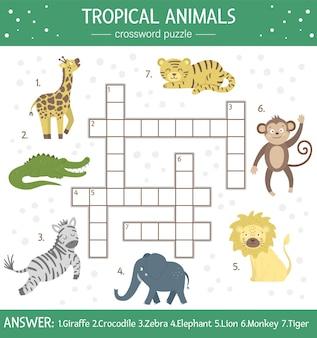 Cruciverba estivo per bambini. quiz semplice con animali tropicali per bambini. attività educativa nella giungla con simpatici personaggi divertenti