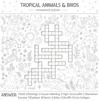 Cruciverba estivo. quiz con animali tropicali e uccelli per bambini. attività educativa nella giungla in bianco e nero con simpatici personaggi divertenti. pagina da colorare divertente per i bambini