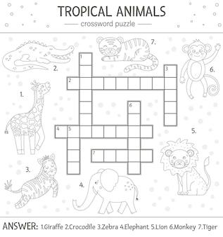 Cruciverba estivo. quiz semplice con animali tropicali per bambini. attività educativa nella giungla in bianco e nero con simpatici personaggi divertenti. pagina da colorare divertente per i bambini