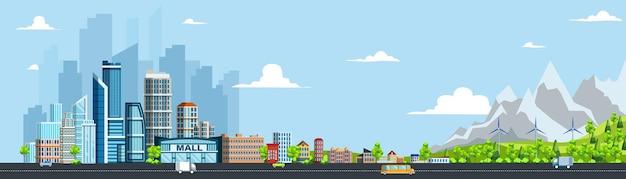 Paesaggio urbano di giorno di estate con strada stradale e immobili. città verde con condominio residenziale e commerciale, centro commerciale, parco, illustrazione vettoriale di generatore di mulino a vento di energia alternativa
