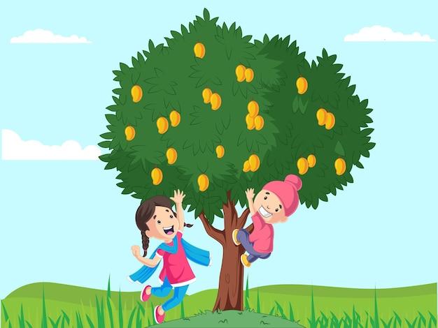 Design estivo con ragazzo e ragazza che raccolgono mango