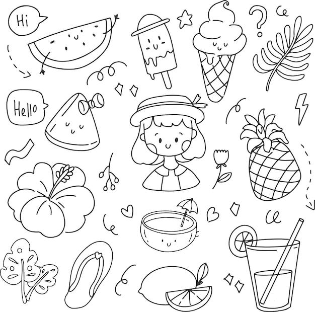 Estate doodle disegno a mano di gelato ragazza e ananas line art. autoadesivo del fumetto di vettore tropicale nella priorità bassa bianca.