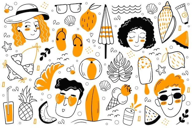 Insieme di scarabocchi estivi. illustrazione vettoriale. set estivo di abbigliamento femminile, scarpe. mare, sole, frutta, cibo, bevande.