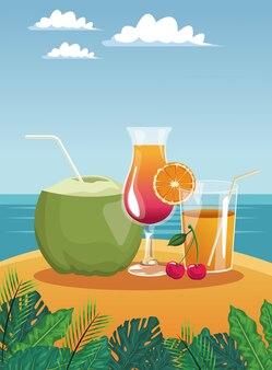 L'estate beve nella progettazione grafica dell'illustrazione di vettore di vetro