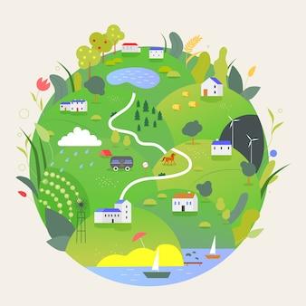 Illustrazione di concetto di estate terra pianeta