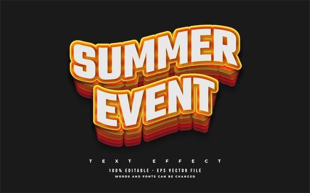 Testo dell'evento estivo in stile cartone animato colorato con effetto ondulato. effetto ombra stile testo modificabile