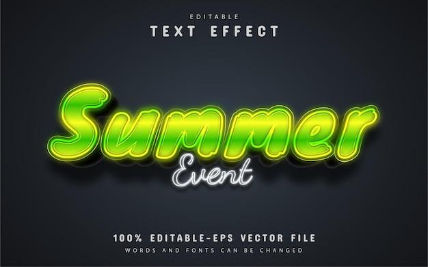 Testo dell'evento estivo, effetto testo in stile neon