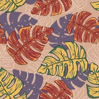 Estate tropicale floreale esotico foglie sfondo astratto colorato lascia senza cuciture Vettore Premium