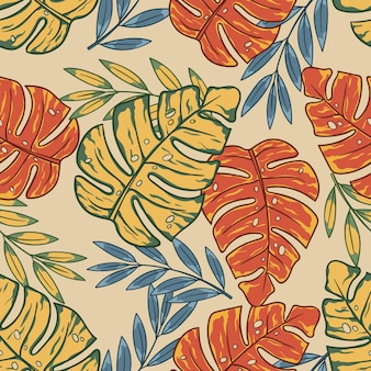 Estate tropicale floreale esotico foglie sfondo astratto colorato lascia senza cuciture