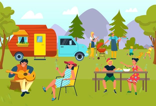Picnic della famiglia di estate all'illustrazione all'aperto di vacanza