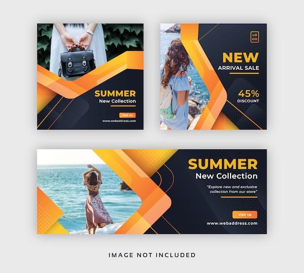 Post di social media in vendita moda estiva e modello di copertina di facebook