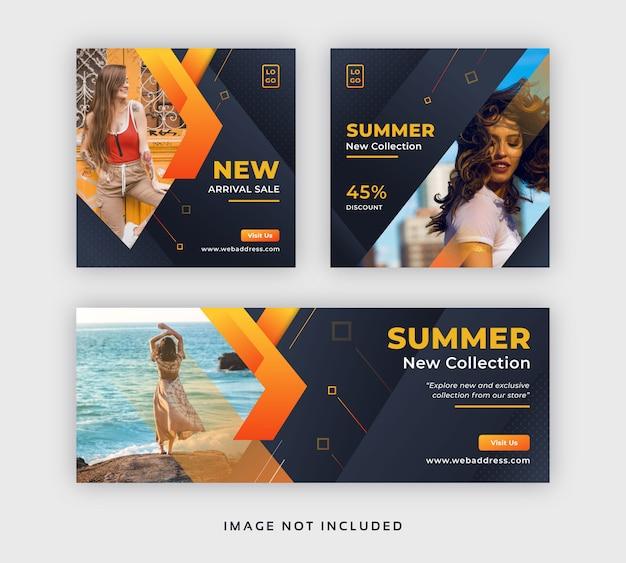 Post di social media in vendita moda estiva e modello di copertina di facebook Vettore Premium