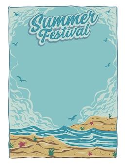 Disegno del modello di poster festival estivo