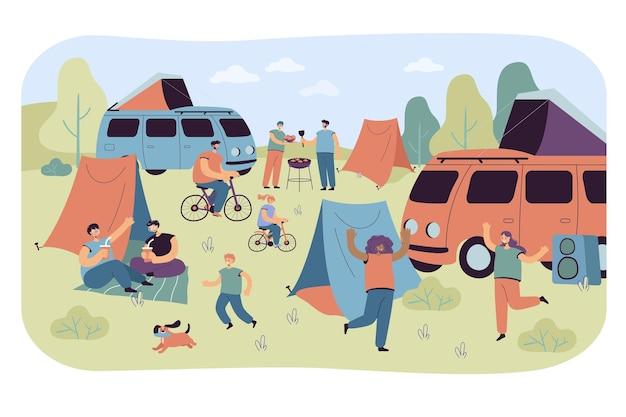 Festival estivo e gruppo turistico in campeggio all'aperto. illustrazione piatta.