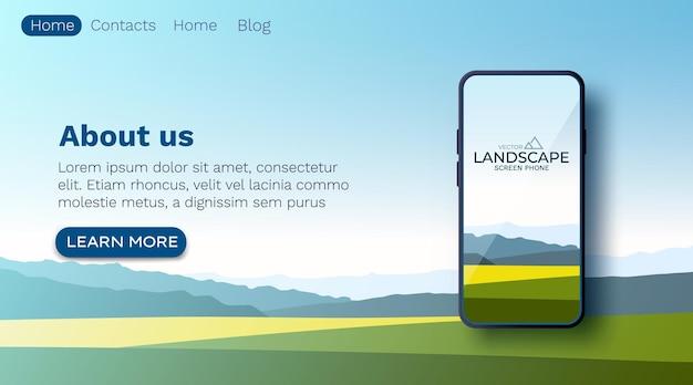 Paesaggio di campi estivi, colline verdi, cielo blu di colore brillante, paese. parete dello schermo dello smartphone in stile cartone animato piatto, banner.