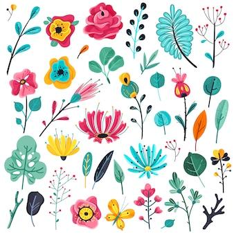 Fiori piatti estivi. piante fiorite del giardino floreale, elementi floreali della natura. set botanico di primavera
