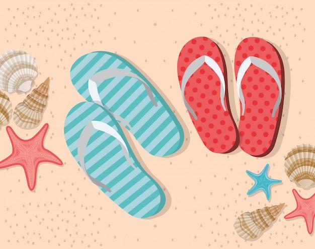 Infradito estate nel design spiaggia