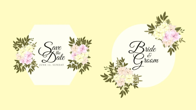 Cornice per etichette con biglietto di auguri floreale estivo con fiori da giardino in fiore