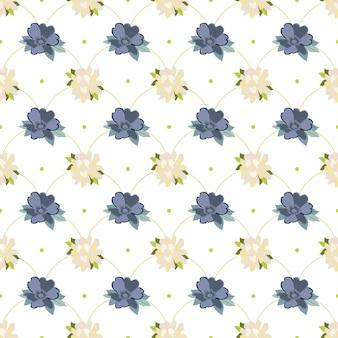 Fiori estivi e foglie senza cuciture fiori bianchi e blu in ripetizione lineare
