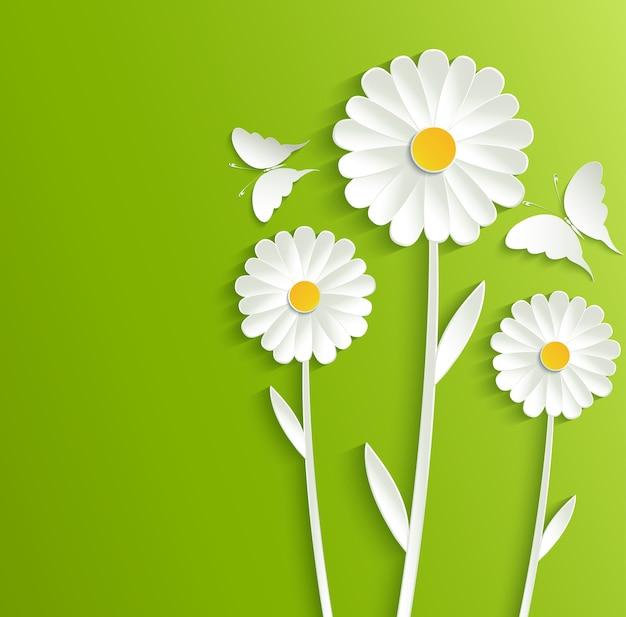 Fiori estivi con farfalle su uno sfondo verde brillante