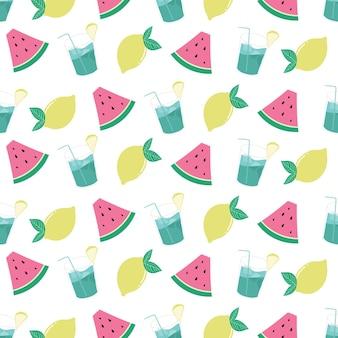 Frutta fresca estiva e modello di bevande