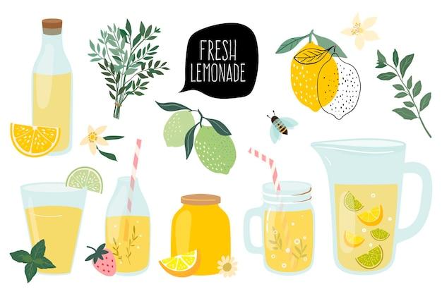 Collezione di limonata fresca estiva con diversi elementi isolati su bianco