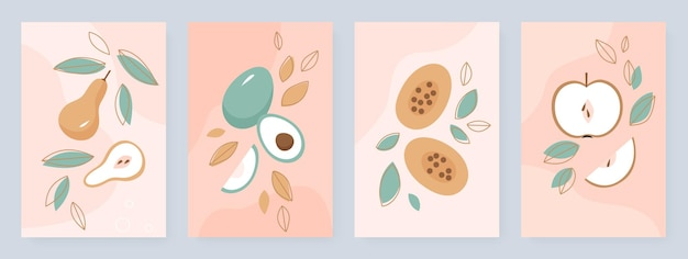 Set di frutta estiva carino modello di progettazione di storie di social media a metà e frutta intera