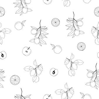 Frutti estivi in bianco e nero senza cuciture illustrazioni vettoriali di frutta pattern background