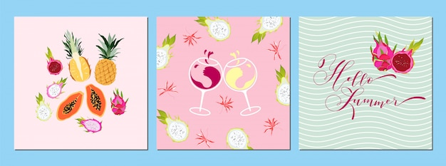 Set di carte fruttate estive. banner di frutti tropicali e vino, design di stampa. testo di calligrafia disegnato a mano ciao concetto estivo. saluto, raccolta di inviti. arte. illustrazione alla moda.