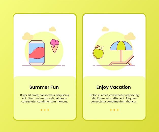Divertimento estivo goditi la campagna per le vacanze per l'onboarding del modello di app mobili