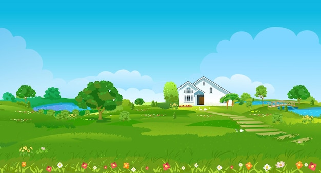 Radura estiva con una casa bianca, stagni, alberi verdi e fiori. paesaggio estivo di campagna. illustrazione