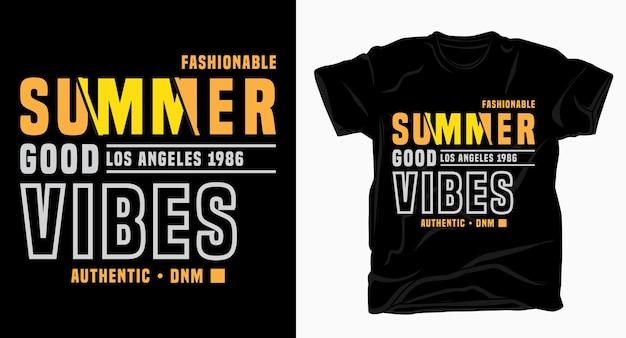 Design tipografico di buone vibrazioni estive per maglietta