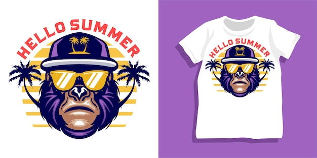 Gorilla estivo con design della maglietta degli occhiali da sole