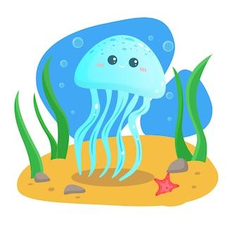 Biglietto di auguri estivo. cartolina. vettore. il fondo del mare. merry medusa