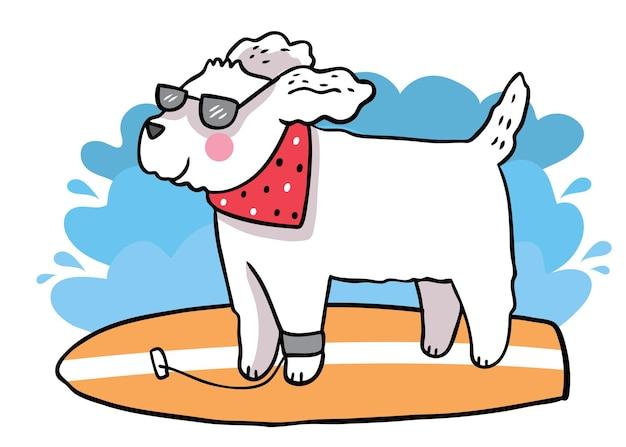 Il cane sveglio del fumetto di tiraggio della mano di estate gioca il vettore di surf.