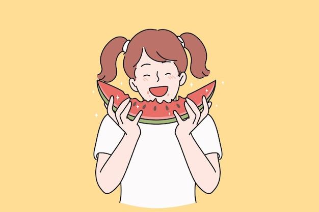 Felicità estiva e concetto di alimentazione sana