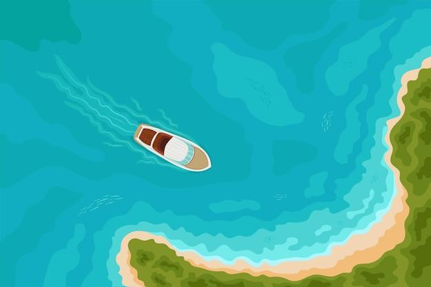 Fondo di vacanza estiva con la barca di velocità che naviga verso una spiaggia sabbiosa sull'isola tropicale. vista aerea dall'alto. vista a volo d'uccello, tema degli sport acquatici, turismo, noleggio di yacht, avventure, vacanze, crociere.