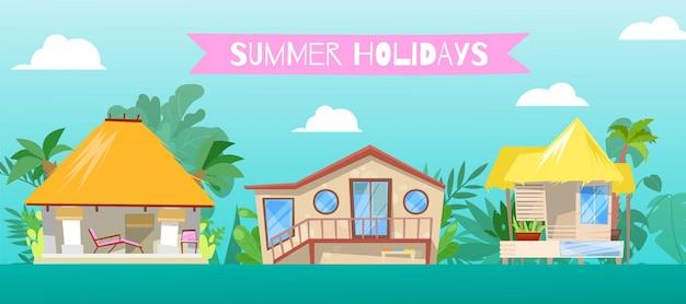 Vacanze estive, all'illustrazione della casa della spiaggia. resort su palafitte costruzione di case sullo sfondo, bungalow bungalow cartone animato vicino al mare